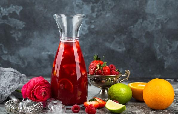 Картинка цветы, ягоды, апельсин, клубника, Напиток, Лайм