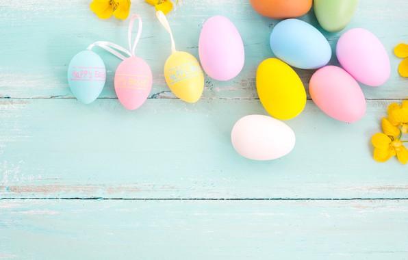 Картинка цветы, яйца, весна, colorful, Пасха, wood, pink, flowers, tulips, spring, Easter, eggs, decoration, Happy, tender