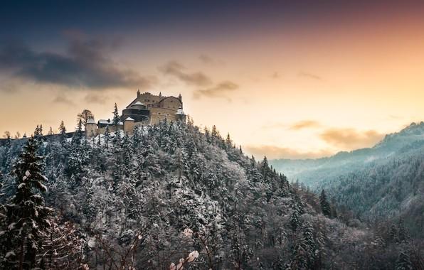 Картинка зима, замок, гора