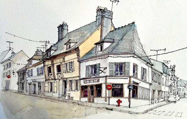 Картинка город, улица, рисунок, дома, акварель, перекресток