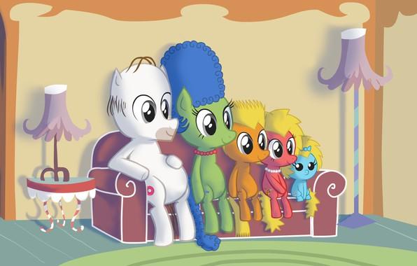 Картинка Симпсоны, Рисунок, Гомер, Мэгги, Maggie, Simpsons, Арт, Art, Лиза, Мультфильм, My Little Pony, The Simpsons, …