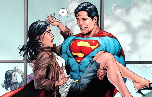 Картинка Девушка, Улыбка, Girl, Костюм, Герой, Супермен, Комикс, Плащ, Супергерой, Hero, Smile, Superman, Кларк Кент, Lois …