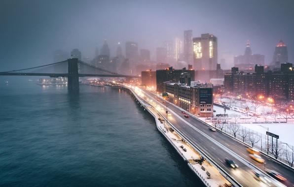 Фото обои США, Нью Йорк, ночь, вечер, огни, город, туман, мост