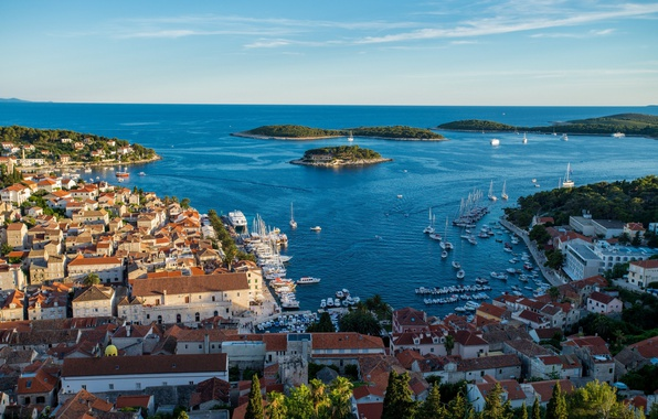 Картинка море, дома, крыши, панорама, Хорватия, Хвар