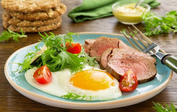 Картинка зелень, тарелка, мясо, вилка, яичница, помидор, ветчина, горчица