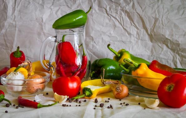 Картинка лук, перец, натюрморт, овощи, помидоры