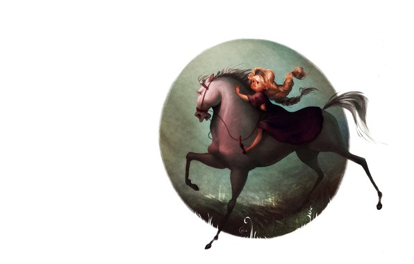 Картинка настроение, девочка, Art, детская, лошадка, Celia Kaspar