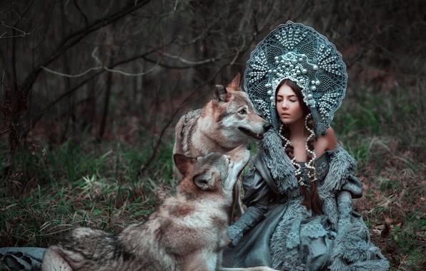 Картинка лес, девушка, красавица, волки, Ксения, кокошник, Мария Липина