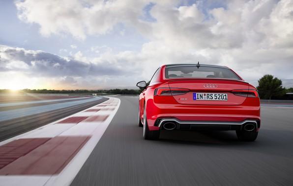 Картинка Audi, German, Red, Race, Speed, RS5, 2018, Track, Drive, RS, A5