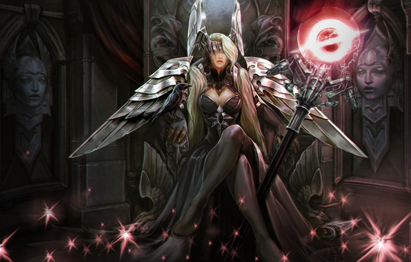 Картинка girl, fantasy, game, magic, long hair, bird, raven, wings, stars, blonde, digital art, artwork, mask, ...