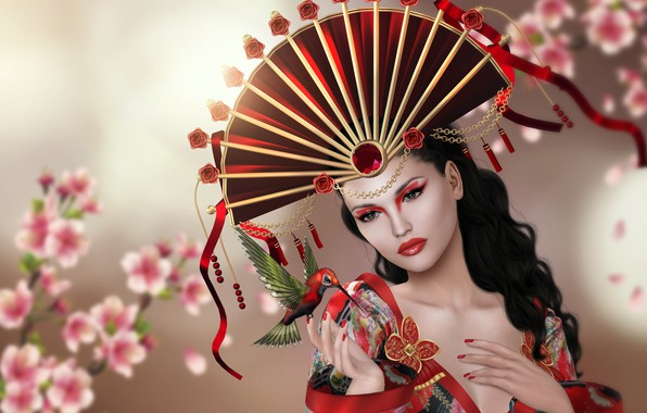 Картинка девушка, цветы, колибри