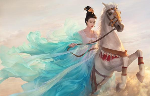 Картинка Девушка, Лошадь, Рисунок, Арт, Asian Princess