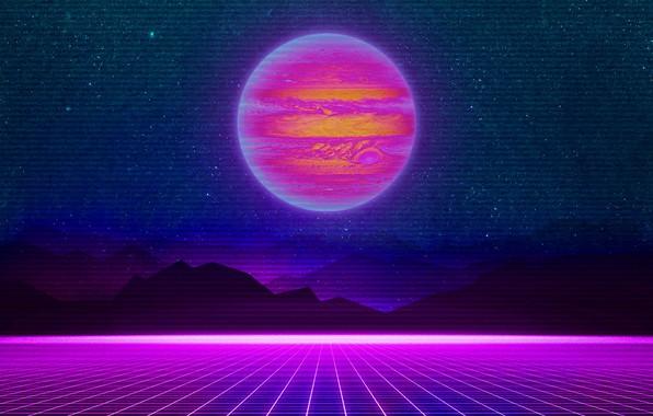 Картинка Горы, Музыка, Звезды, Неон, Планета, Космос, Фон, Юпитер, Electronic, Synthpop, Darkwave, Synth, Retrowave, Синти-поп, Синти, ...