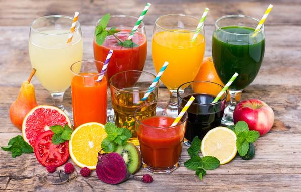 Картинка листья, ягоды, малина, лимон, яблоко, апельсин, киви, бокалы, груша, стаканы, фрукты, напитки, овощи, помидор, трубочки, …