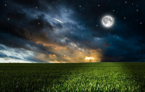 Картинка зелень, поле, небо, трава, облака, ночь, луна, фотошоп, звёзды