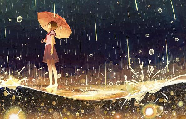 Картинка капли, брызги, ночь, босиком, лужа, девочка, школьница, ливень, под зонтом