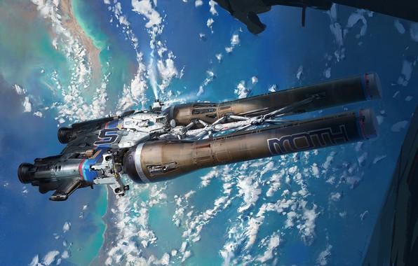 Картинка космос, фантастика, арт, John Wallin Liberto, Moth_orbit