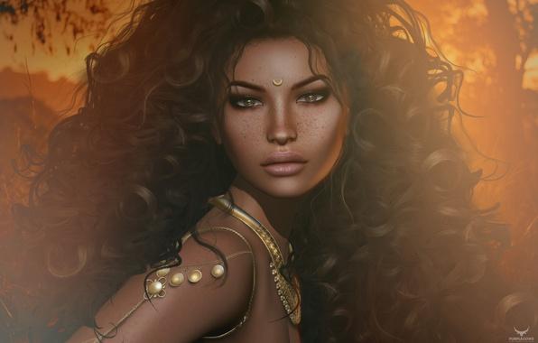 Картинка девушка, волосы, кудри