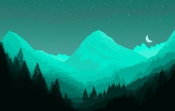 Картинка green, minimal, dark, light, moon, forest, background, mountains, view, fog, photoshop, good, paper, cool, best, ...