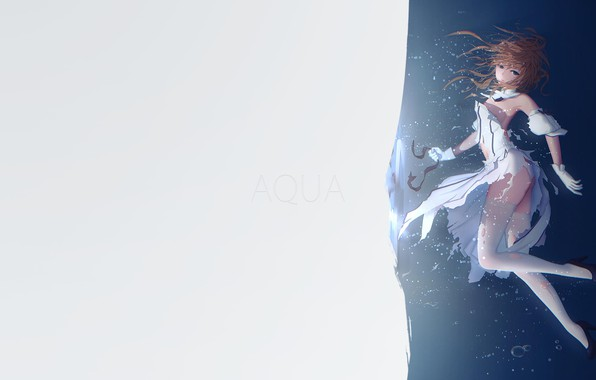 Картинка girl, minimalism, anime, Aqua, blue eyes, illustration, simple background, anime girl, Fate/Grand Order, Saber Lily