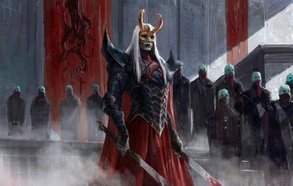Картинка blood, fantasy, horns, armor, long hair, Warrior, people, weapons, digital art, artwork, mask, swords, fantasy …