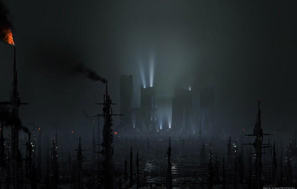 Картинка факел, мегаполис, смог, BLADE RUNNER 2049, Black Out 2022