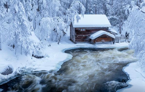 Картинка зима, лес, деревья, пейзаж, природа, дом, парк, река, лёд, ели, Финляндия, Jari Ehrström
