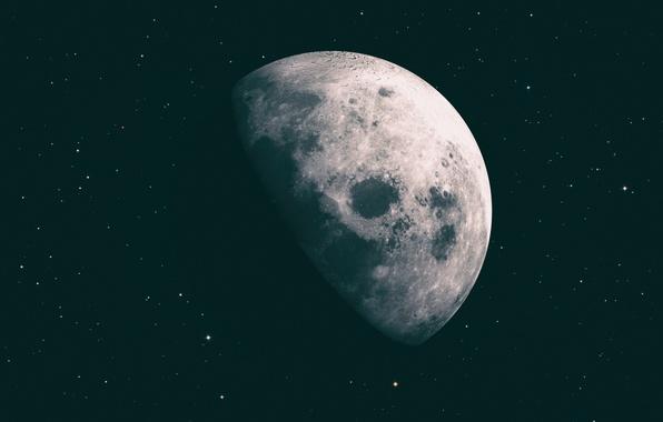 Картинка Звезды, Луна, Космос, Moon, Stars, Space, Рендеринг, Cinema4d