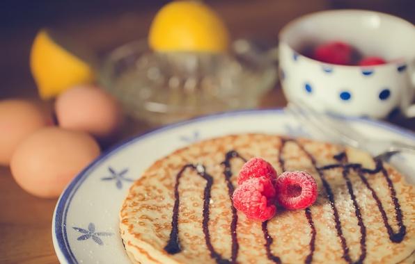 Картинка ягоды, тарелка, блины