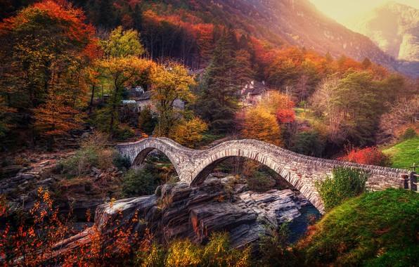 Картинка осень, деревья, мост, Швейцария, Альпы, Switzerland, Alps, Ticino, Тичино, Lavertezzo, Ponte dei Salti, Verzasca River, ...