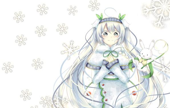 Картинка аниме, арт, снежинка, вокалоид. мику., snow miku