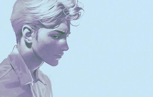 Картинка стрижка, портрет, профиль, рубашка, парень, шея, голубой фон, блондин, Илья Кувшинов
