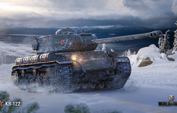 Картинка зима, WoT, World of Tanks, советский танк, КВ-122, Wargaming