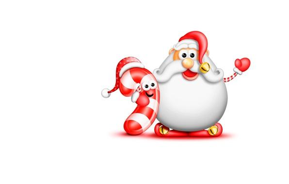 Картинка настроение, праздник, минимализм, арт, Новый год, детская, Big Beard Santa and Candy Cane, Big Beard …