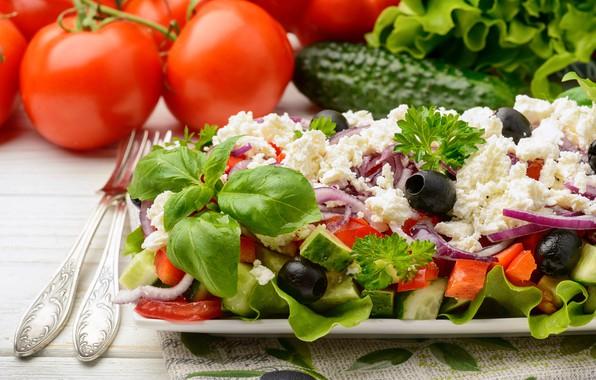 Картинка зелень, овощи, салат, творог