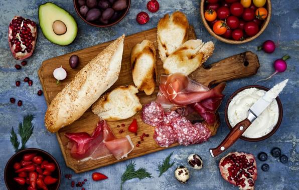 Картинка ягоды, сыр, хлеб, овощи, багет, черри, бутерброды, ветчина, салями, брускетта, brushetta