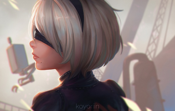 Картинка girl, white, game, robot, black, android, art, beautiful, square enix, factory, nier, bandage, ps4, column, …