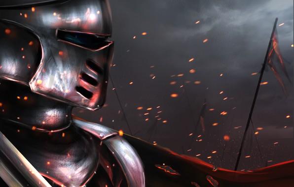 Картинка огонь, война, меч, доспехи, флаг, воин, шлем, броня, битва, рыцарь, кольчуга, digital, painting, поле битвы, …
