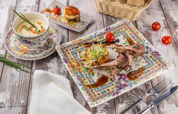 Картинка еда, томат, первое блюдо, суп пюре, ребрышки