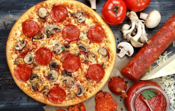 Картинка грибы, пицца, помидоры, колбаса, салями