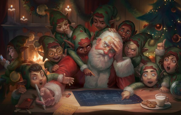 Картинка план, арт, эльфы, камин, Санта Клаус, ёлочка, чертёж, Illustration, Dear Satan: Merry Christmas and Happy …