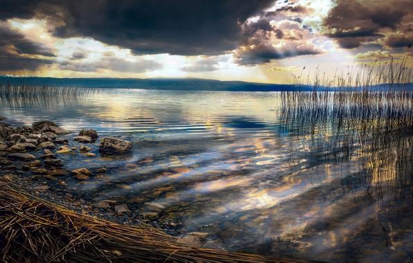 Картинка небо, вода, облака, лучи, свет, тучи, природа, река, камни, берег, растительность, дно, горизонт, водоем, водная …