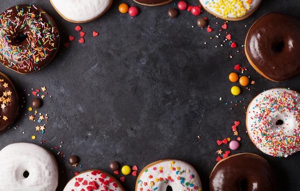 Фото обои конфеты, пончики, глазурь, donuts