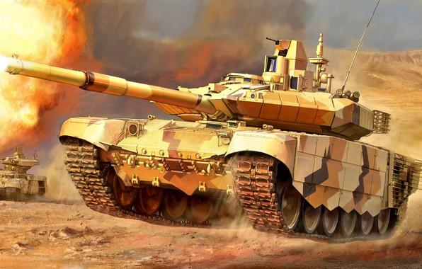 Картинка Рисунок, танк, Россия, боевой, Т-90МС, Основной, Бронетанковые войска