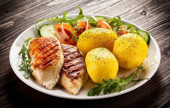 Картинка тарелка, мясо, овощи, помидоры, салат, картофель
