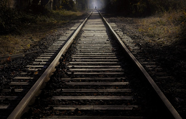 Картинка ночь, силуэт, железная дорога