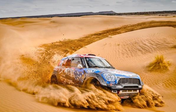 Фото обои Песок, Mini, Спорт, Пустыня, Скорость, Гонка, Жара, Rally, Ралли, Дюна, Raid, MINI Cooper, X-Raid