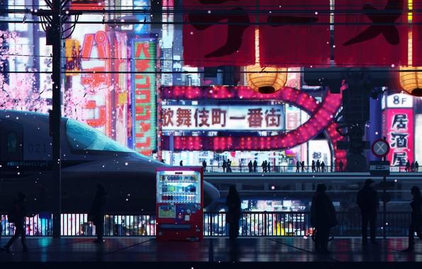 Картинка люди, поезд, станция, Япония, реклама, Токио, иероглифы, Tokyo, Japan, платформа, art, цветущая сакура, огни ночного …