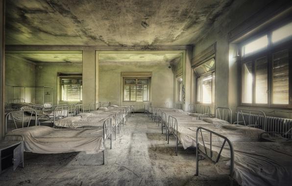 Картинка больница, кровати, палата