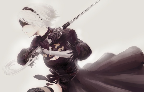 Картинка girl, sword, white, game, black, android, dress, art, katana, square enix, nier, bandage, ps4, tape, …